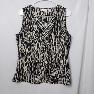 Chicos Sleeveless Animal Print Ruffle Blouse
